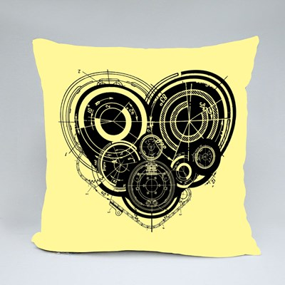 Heart With Mechanism Architectural Theme Throw Pillows