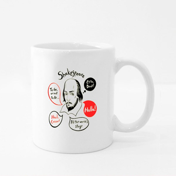 Shakespeare With Speech Bubbles and Famous Writer's Citations Colour Mugs