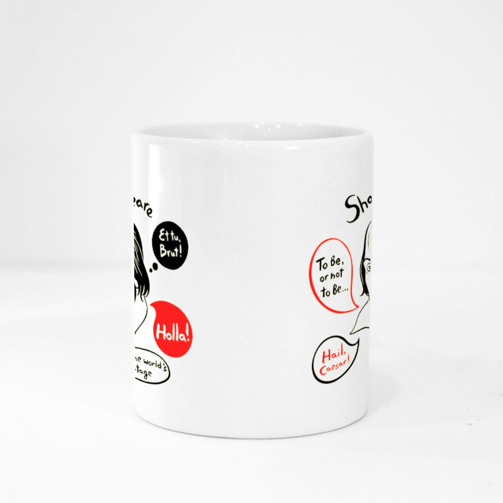 Shakespeare With Speech Bubbles and Famous Writer's Citations Magic Mugs