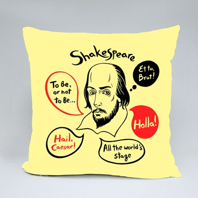 Shakespeare With Speech Bubbles and Famous Writer's Citations Throw Pillows