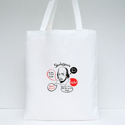 Shakespeare With Speech Bubbles and Famous Writer's Citations Tote Bags
