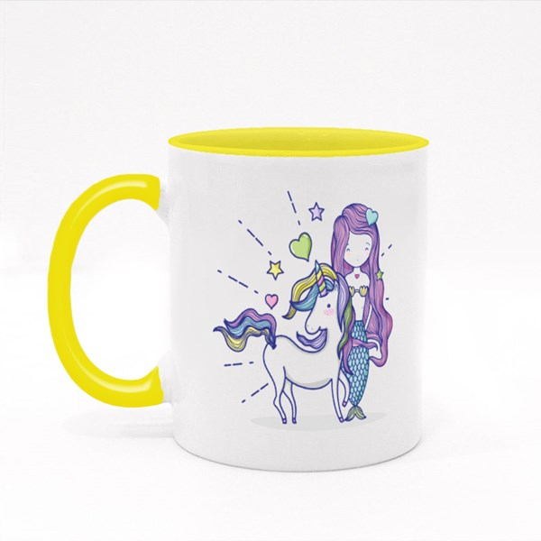Little Mermaid With Unicorn Art Cartoon Colour Mugs