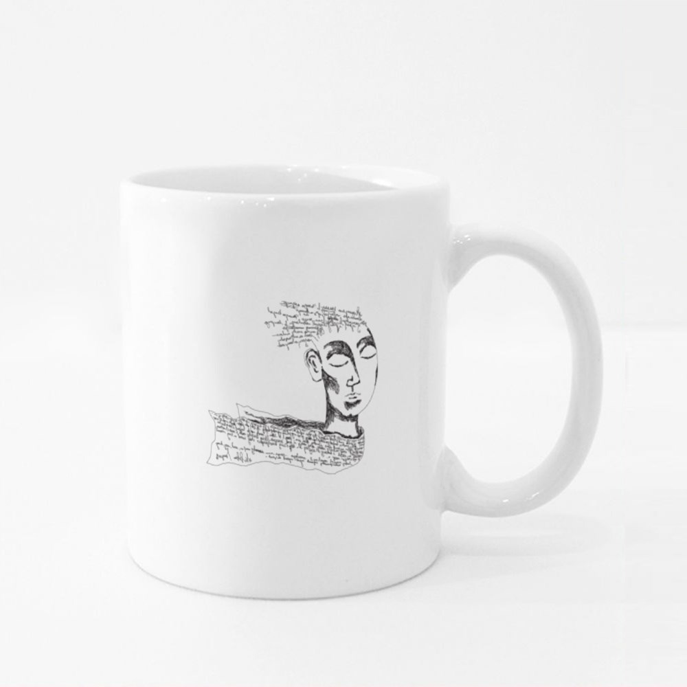 A Fantasy Face With the Non Existent Letters and Words Over the Head Colour Mugs