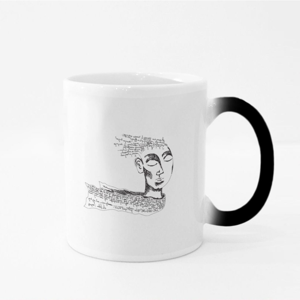 A Fantasy Face With the Non Existent Letters and Words Over the Head Magic Mugs