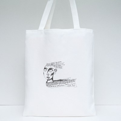 A Fantasy Face With the Non Existent Letters and Words Over the Head Tote Bags