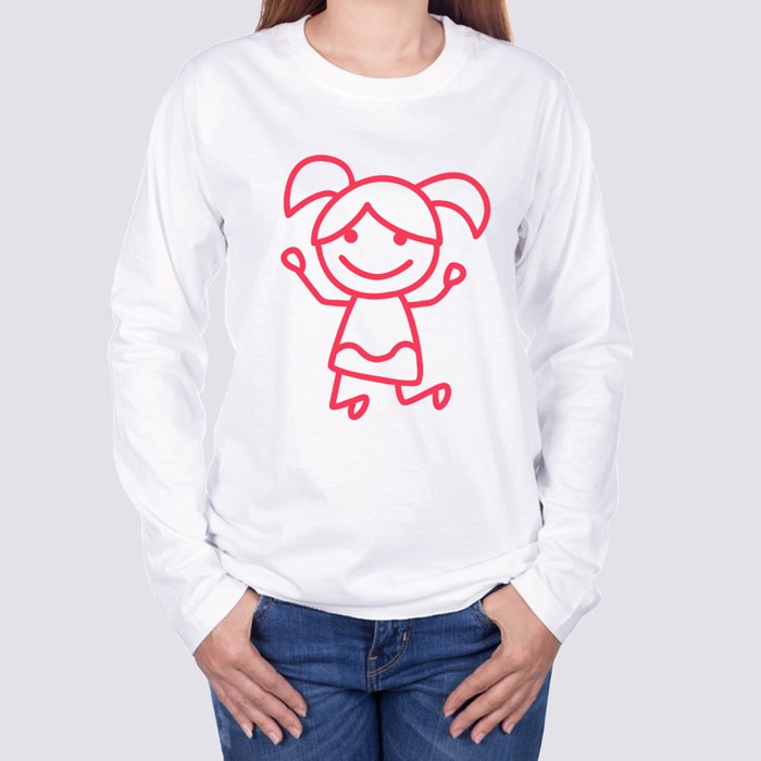 Red Little Stick Girl Shirt Long Sleeve T-Shirts