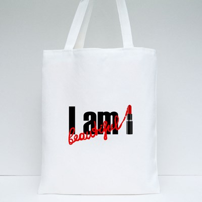 I Am Beautiful With Red Lipstick Tote Bags