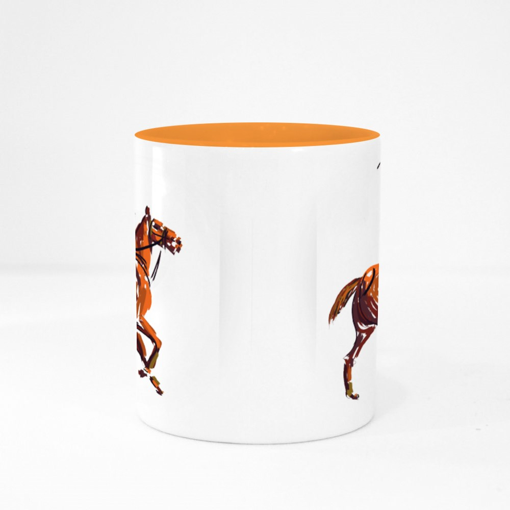 Horse Polo Stroked Illustration Colour Mugs