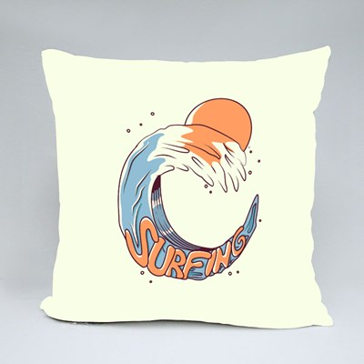 Surfing Wtih a Tidal Wave Throw Pillows