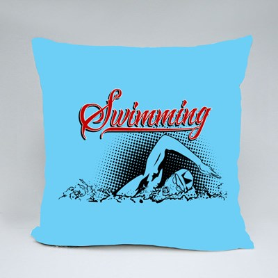 Swimming Is a Summer Kind of Sports Throw Pillows