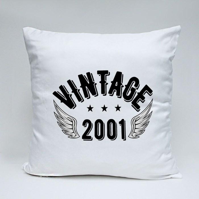 Vintage 2001 B Throw Pillows