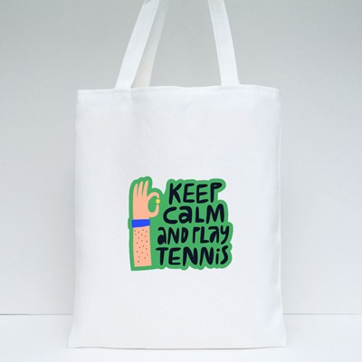 Keep Calm and Play Tennis Tote Bags