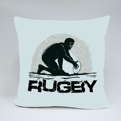 Silhouette of a Rugby Player Throw Pillows