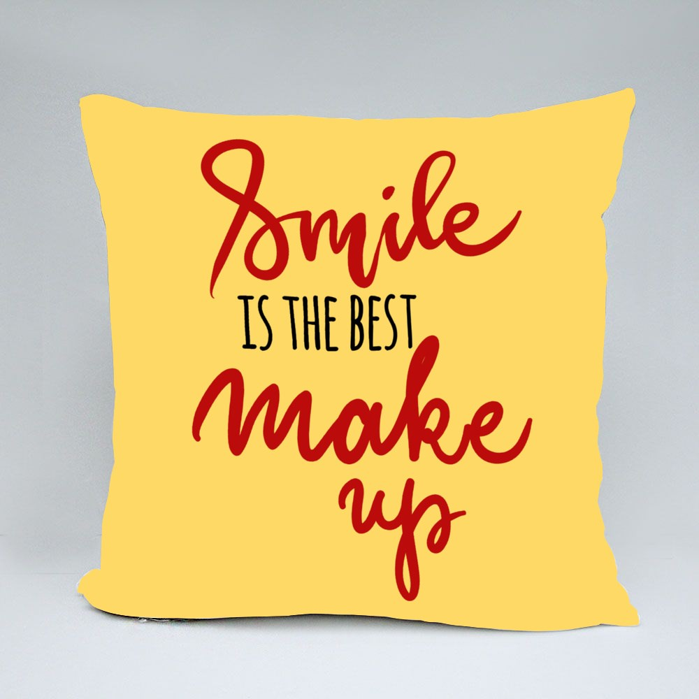 Smile Is the Best Make Up Throw Pillows