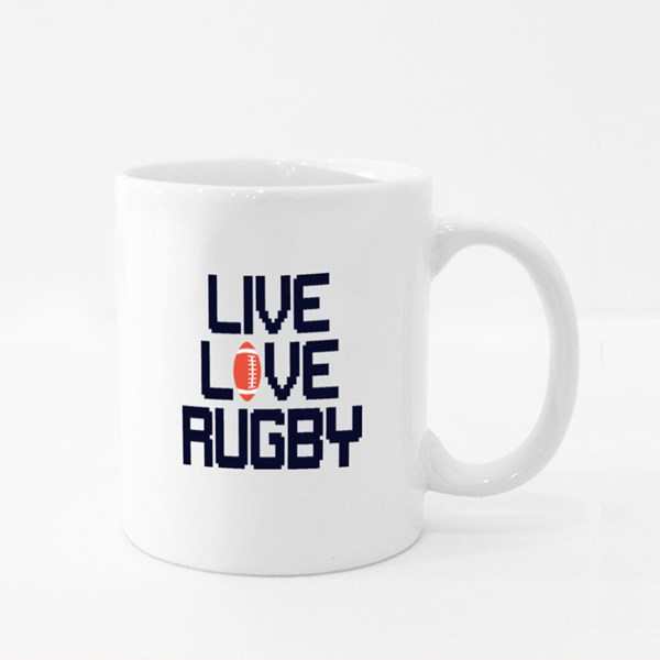 Live and Love Rugby Colour Mugs