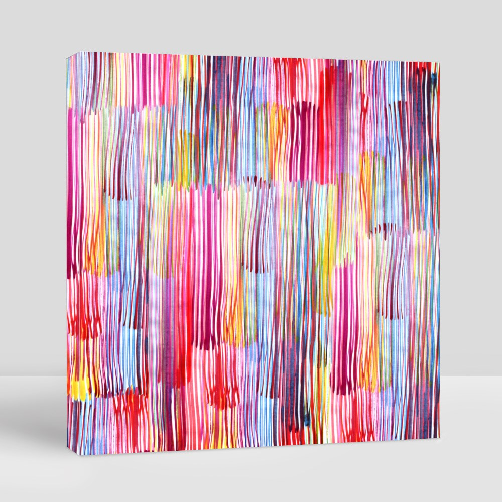 Abstract Watercolour Stripes Canvas (Square)