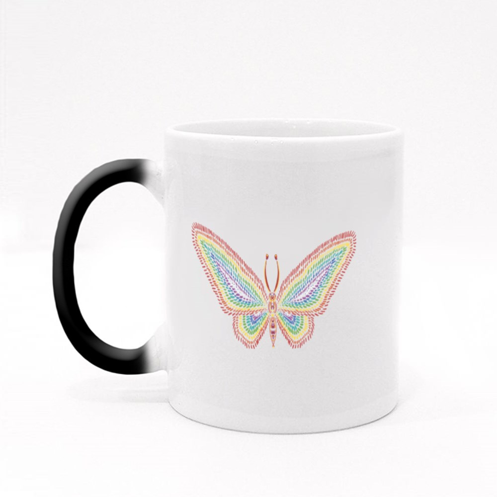 Colorful Butterfly Dotted Art Magic Mugs