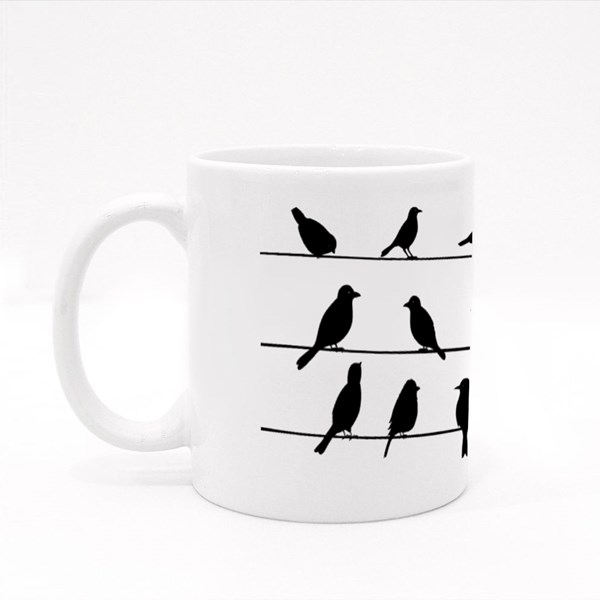 Cute Black Birds on a Wire Colour Mugs