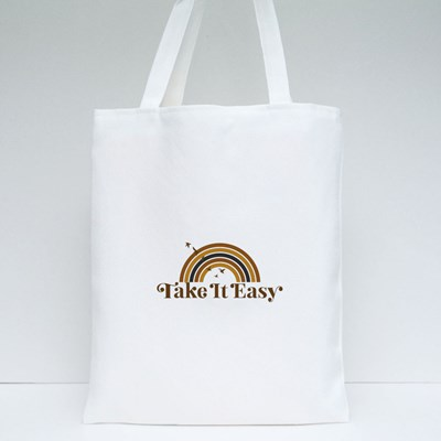 Take It Easy Bird on a Rainbow Tote Bags