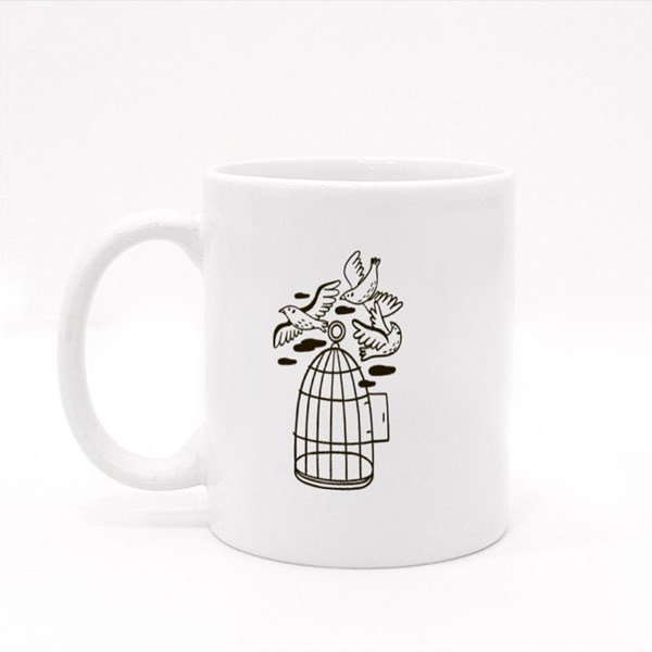 Birds Flying Out of a Cage Colour Mugs