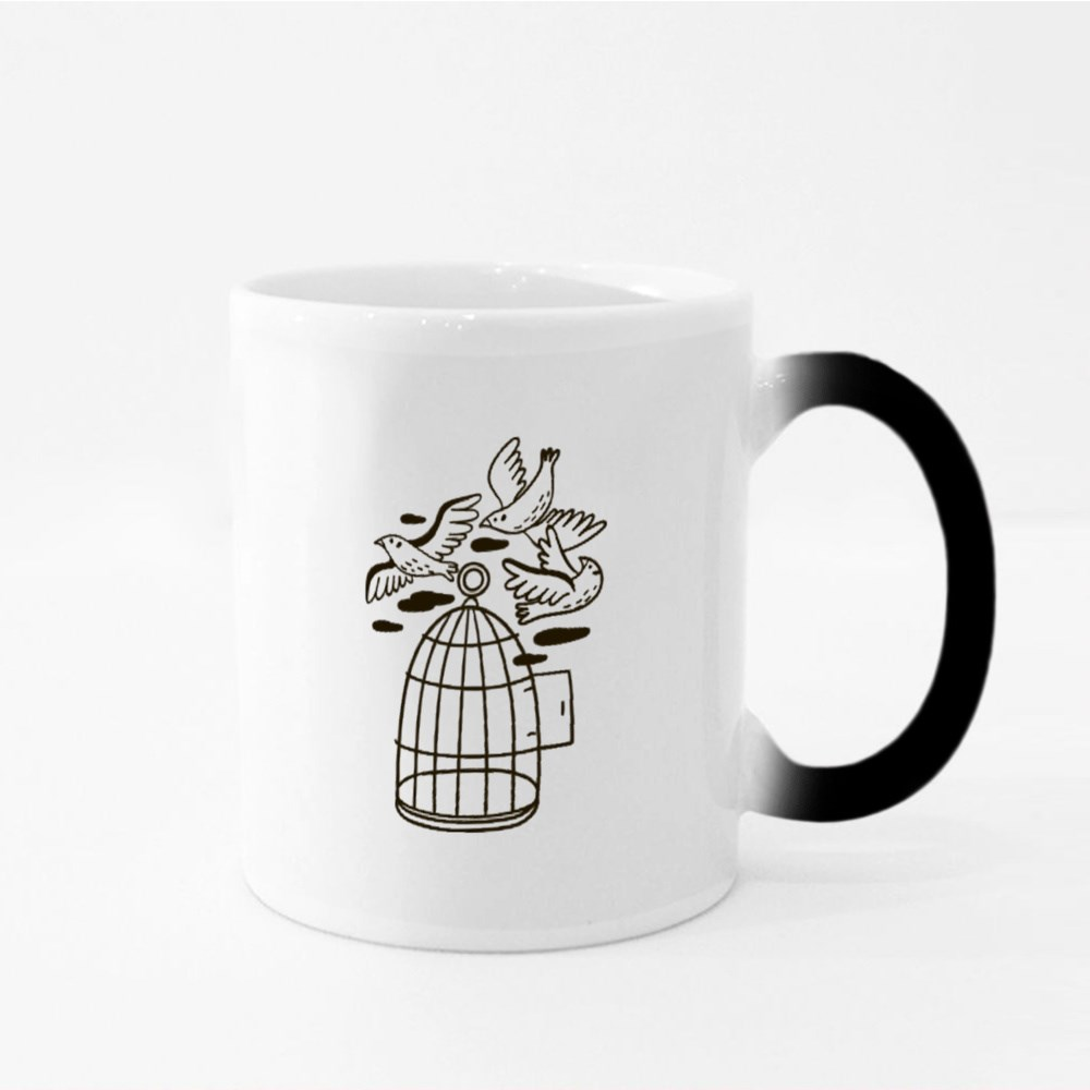 Birds Flying Out of a Cage Magic Mugs