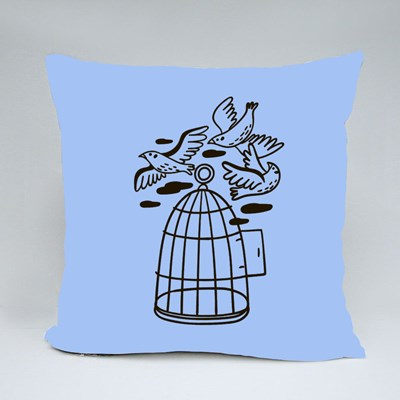 Birds Flying Out of a Cage Throw Pillows