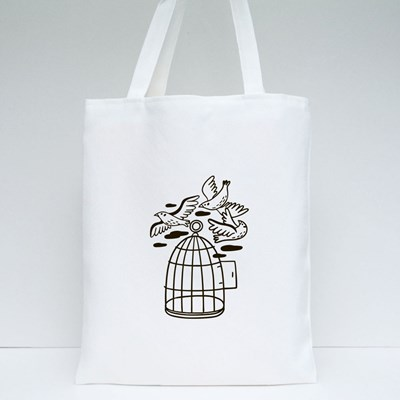 Birds Flying Out of a Cage Tote Bags