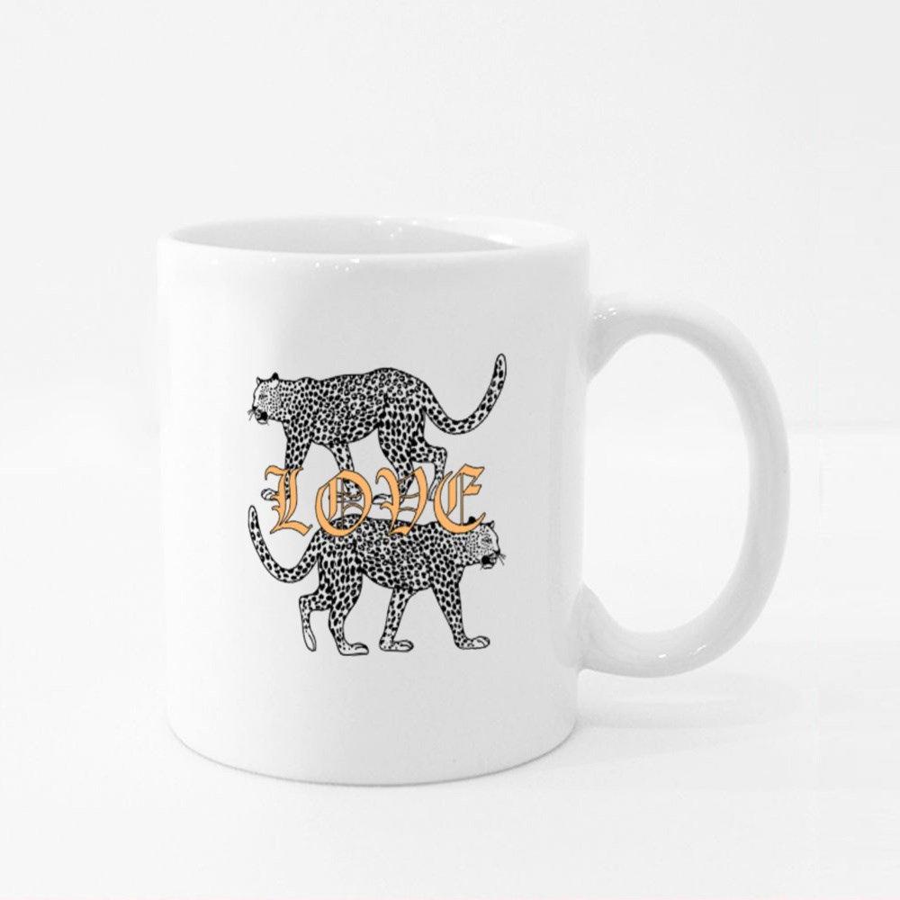 Two Leopard With Love Colour Mugs