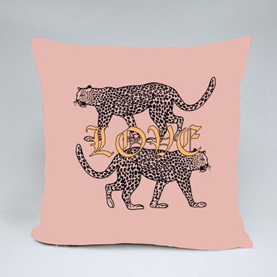 Two Leopard With Love Throw Pillows
