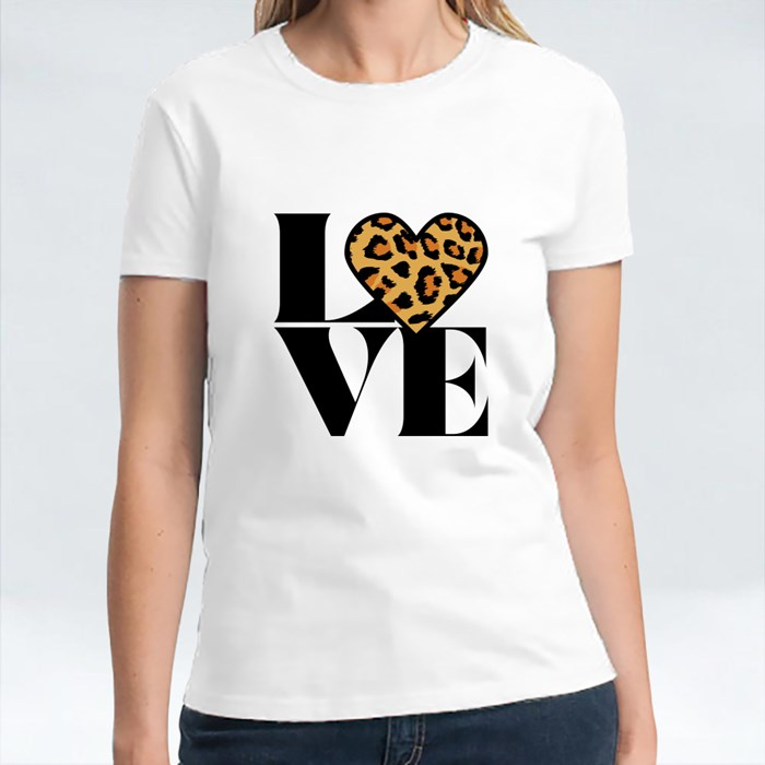 Love With Leopard Heart T-Shirts