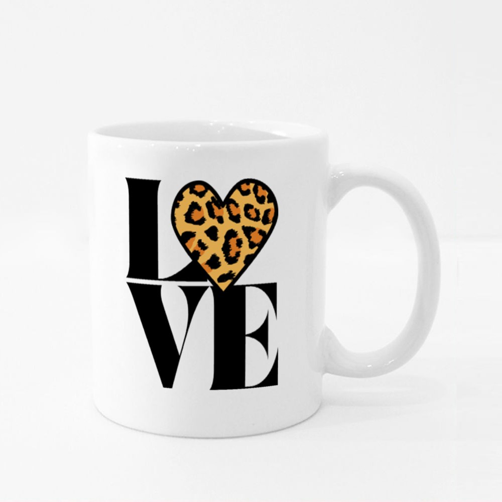 Love With Leopard Heart Colour Mugs