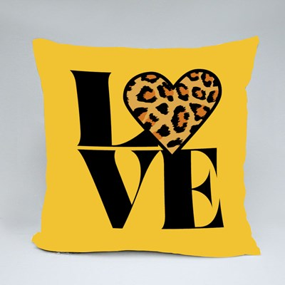 Love With Leopard Heart Throw Pillows