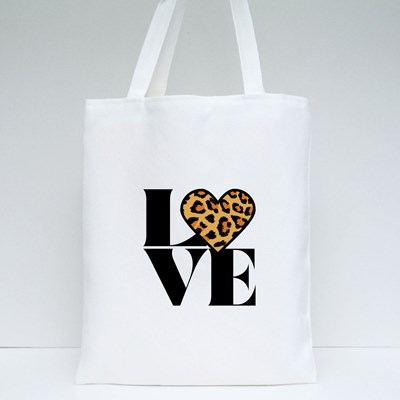 Love With Leopard Heart Tote Bags