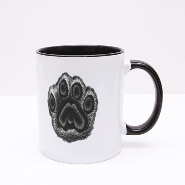 Leopard Black and White Paw Colour Mugs