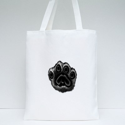 Leopard Black and White Paw Tote Bags