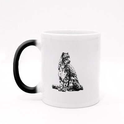 A Sitting Snow Leopard Magic Mugs