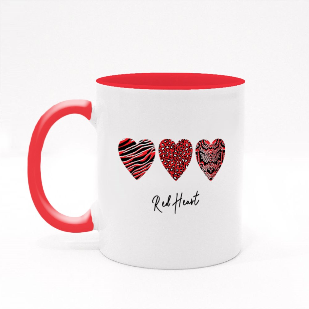 Leopard Textured Red Heart Colour Mugs