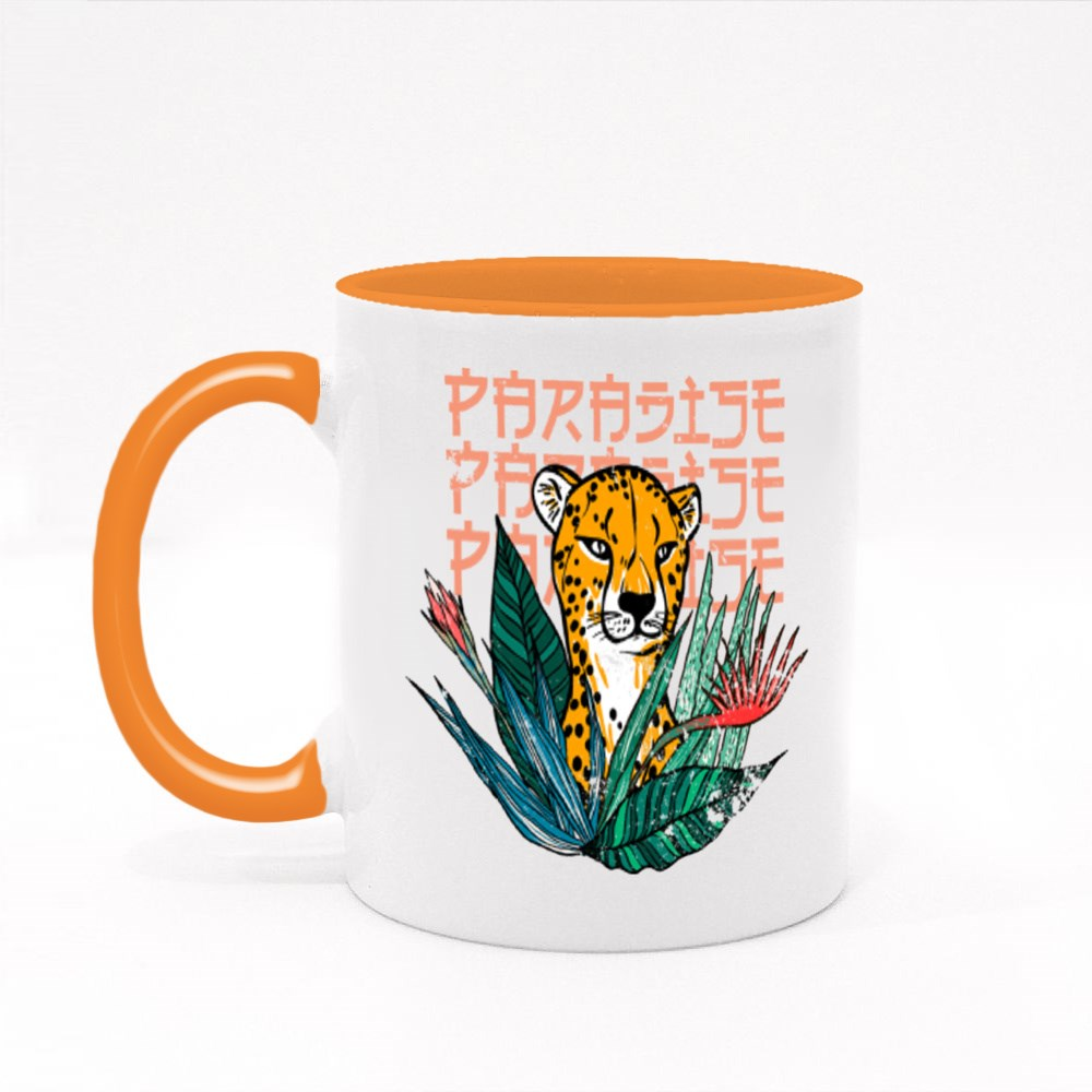 Leopard in Paradise of Flowers Colour Mugs