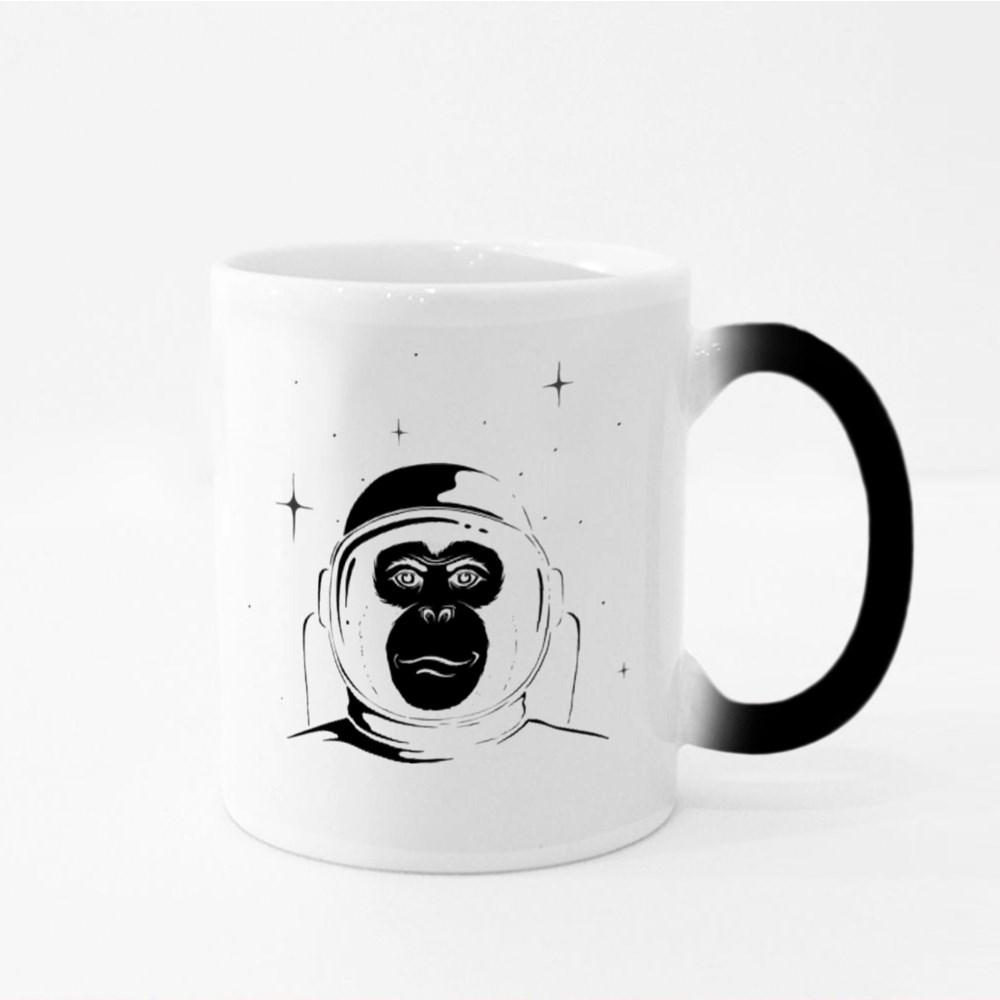 Monkey Astronaut in Space Magic Mugs