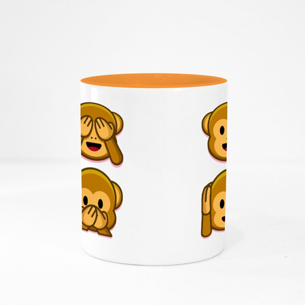 Emoji Monkeys Set Colour Mugs