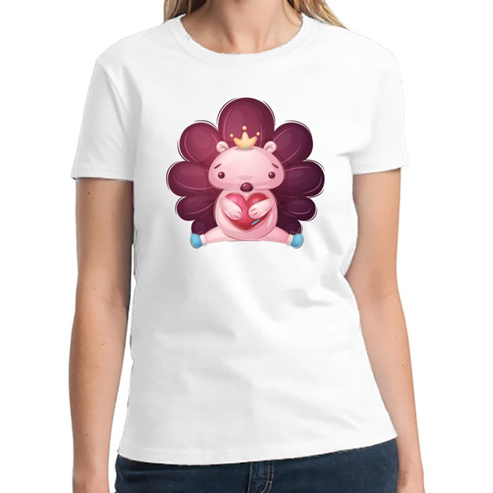 Cute Hedgehog Holding Heart | Design for Valentines and Couples T-Shirts (Front & Back)