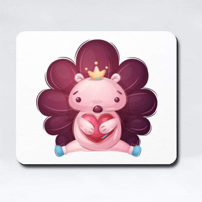 Cute Hedgehog Holding Heart | Design for Valentines and Couples Mousepads (Rectangle)