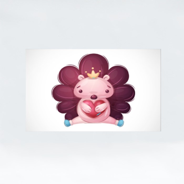 Cute Hedgehog Holding Heart | Design for Valentines and Couples Stickers (Rectangle)