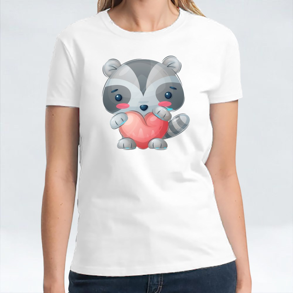 Cute Raccoon Holding Heart   Design for Valentines and Couples T-Shirts