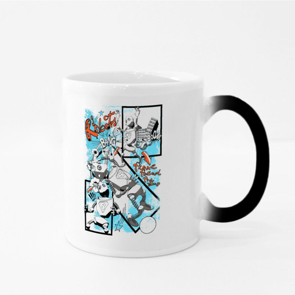 Robot Toys Comic Style Magic Mugs