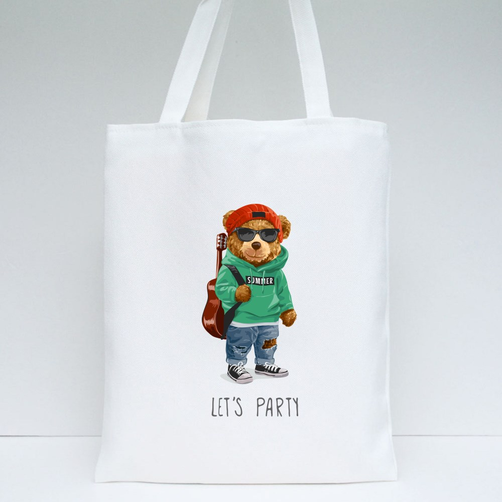 Cool Teddy Bear Let's Party Tote Bags