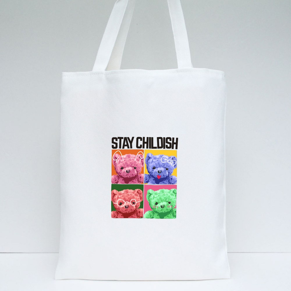 Stay Childish Colorful Bears Tote Bags
