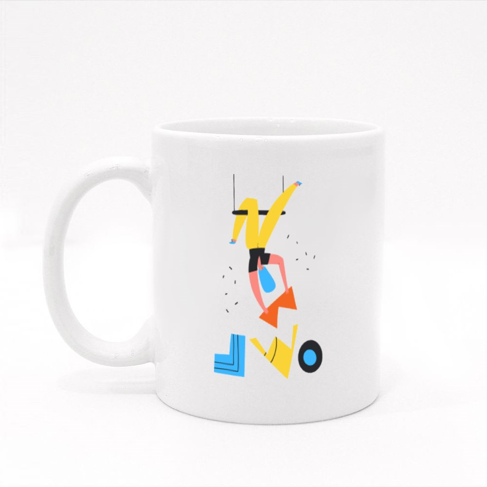 Girl Doing Acrobat With Puzzle Colour Mugs