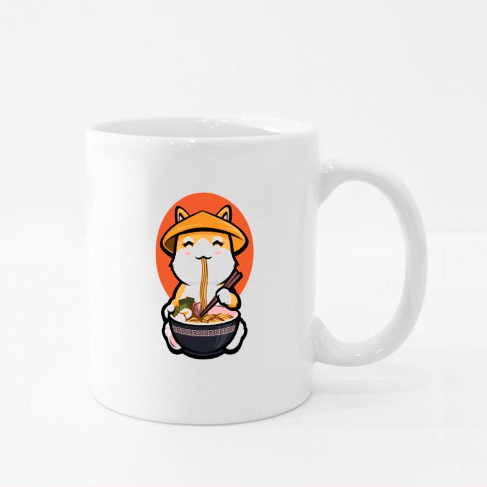 Shiba Inu Eating Ramen Colour Mugs