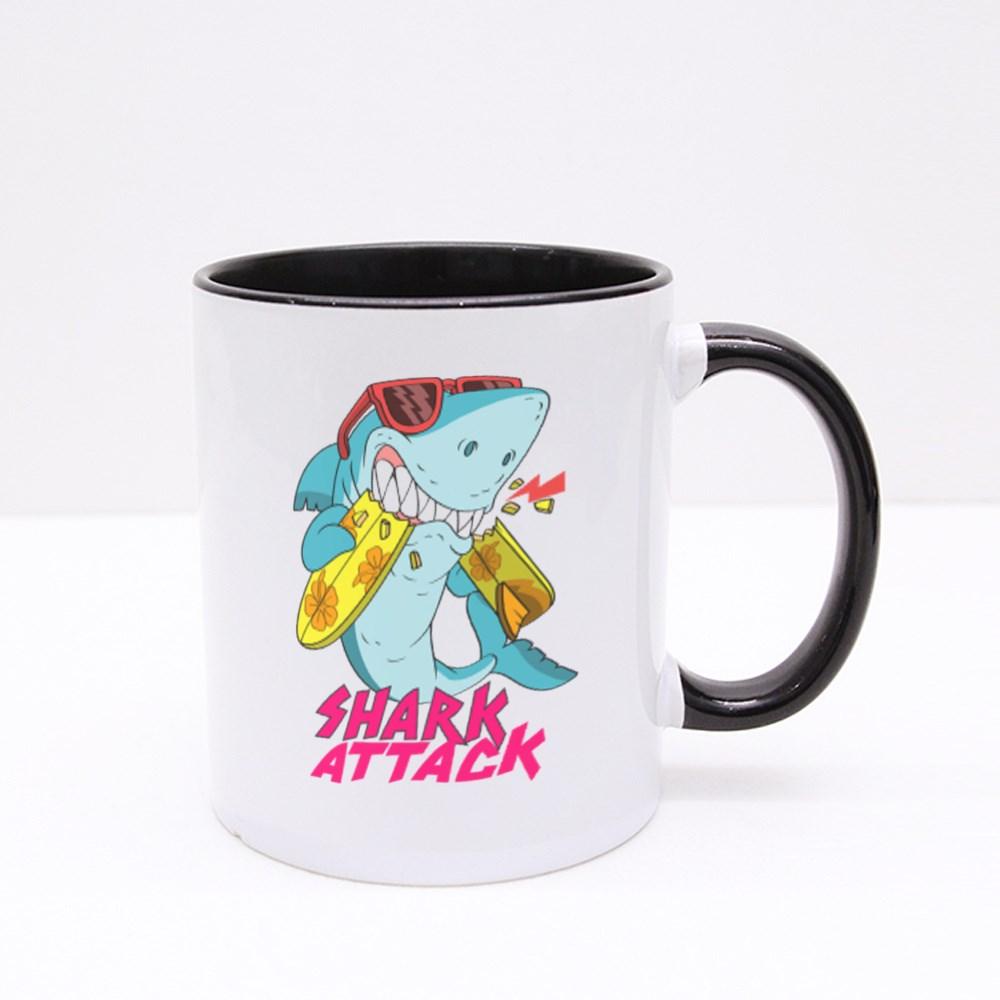 Shark Surfing Attack Colour Mugs